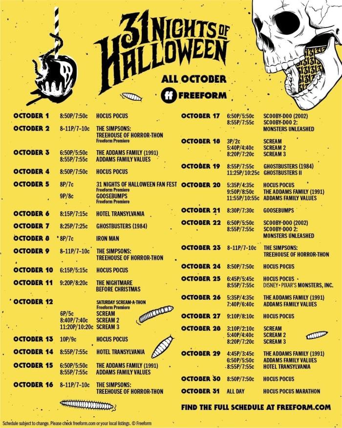 31 Nights of Halloween movie schedule on Freeform! Hocus Pocus, Scream, The Nightmare Before Christmas and so many more. | #Halloween #Freeform #31NightsofHalloween #HalloweenMovies