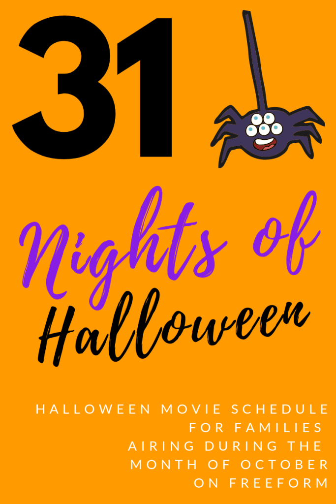Don't miss 31 Nights of Halloween movies airing on Freeform this October. Click to see the line up! Movies like Hocus Pocus, Scream, The Nightmare Before Christmas and so many more! | #Halloween #FamilyMovieNight #Freeform