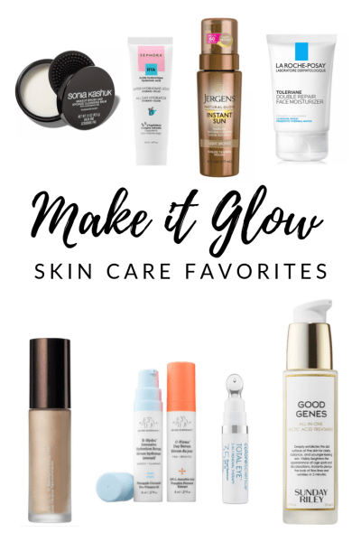Make it Glow - Our favorite skincare products for glowing, dewy skin! With both drugstore and high-end products we've got you covered to keep that glow happening all year long!