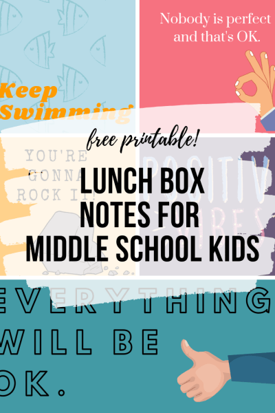 Looking for lunch box notes for your middle schooler? We've got a free printable with five age-appropriate, sixth-grader approved lunch box notes.