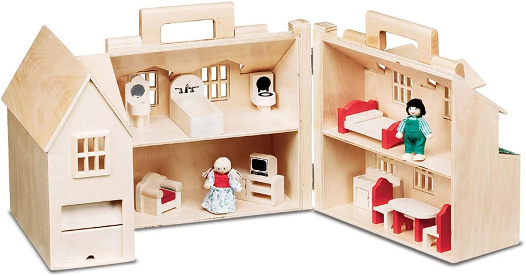 This Melissa and Doug wooden dollhouse is a gender-neutral dollhouse for 3 years old and up. Dollhouse comes with handles for portability. #MelissaAndDoug