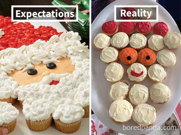 Santa cupcakes gone wrong. Nailed it - style holiday baking challenge