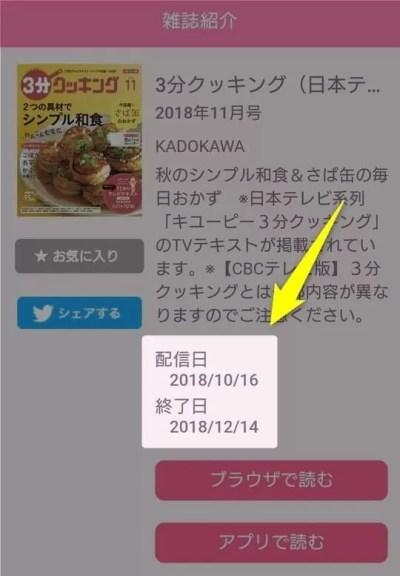マガジン☆WALKER(マガジンウォーカー) 配信日と配信終了日
