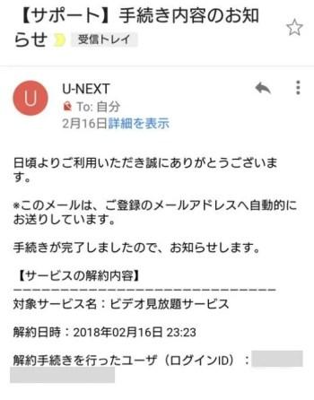 U-NEXT(ユーネクスト)解約時に届くメール