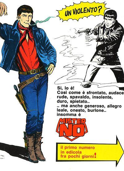 Pubblicità per il primo numero di Mister No, personaggio ideato da Guido Nolitta, pseudonimo di Sergio Bonelli