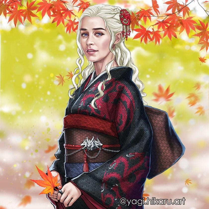 Game of Thrones – Hikaru Yagi disegna le donne in vesti tradizionali giapponesi