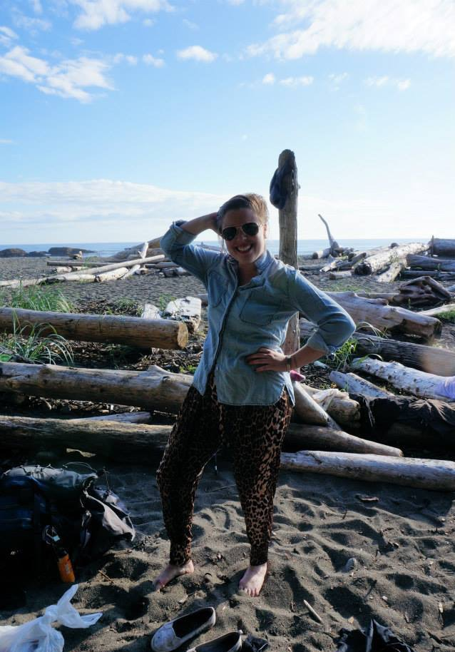 Me in leopard print pants in British Columbia, Canada