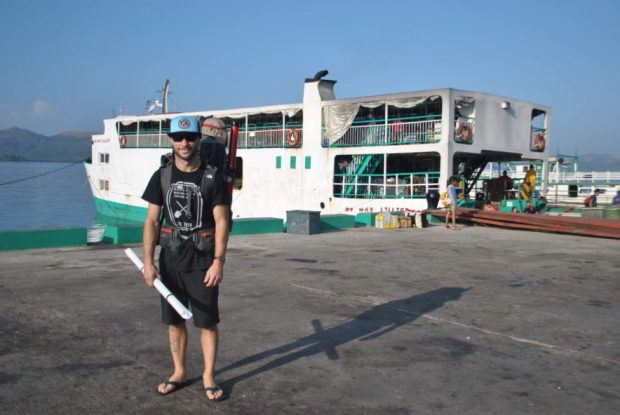 Early days, arriving in Coron Town, our ferry in the background. Maps firmly in hand.