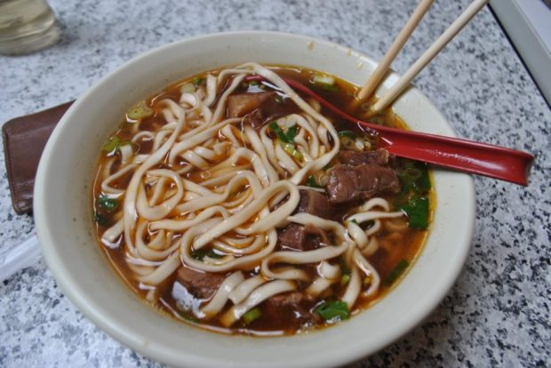 A classic, classic (as I understand it) Taiwanese eat: Beef Noodle Soup. This particular bowl served up to me in an alleyway restaurant in Taipei. This particular place had been open since 1955.