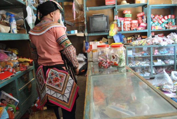 I asked for a photo of her messy cupboard of small RMB bills, and she insisted I take a photo of her beautiful embroidered butt flaps! Hani Woman in Traditional clothing, Duoyishu.