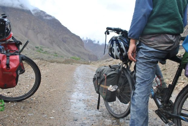 Ilona also has handmade panniers - made by an Australian couple and gifted to her before she started her bike voyage back to Belgium.