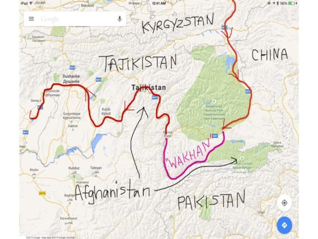 map of our route through Tajikistan along the Wakhan Valley that separates Tajikistan from Afghanistan