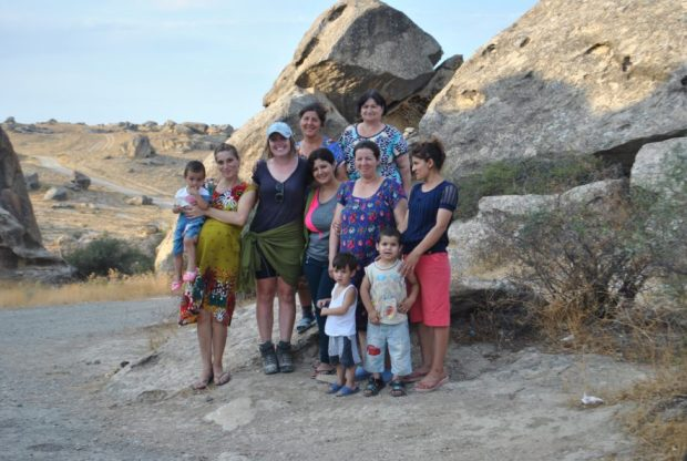 I experienced many instances of hospitality in Azerbaijan. Here I'm smiling with a group of women after a picnic up in Gobustan.