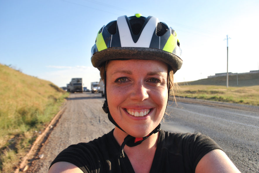 Me in the late afternoon on the shoulder of a busy road in Kazakhstan