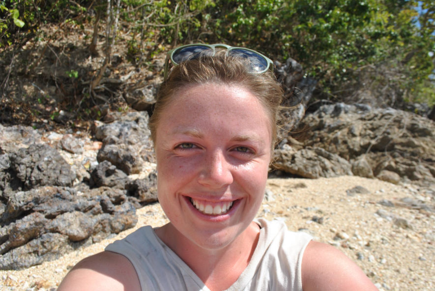Me with a sunburn on the beach on an island in Palawan, Philippines