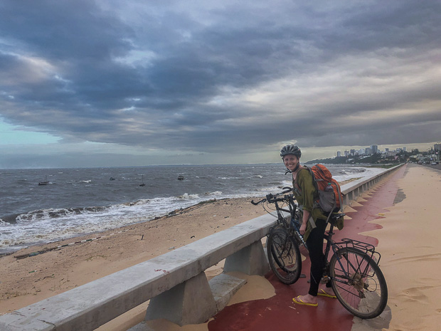 cycling along Avenida Marginal beach promenade, Maputo Mozambique