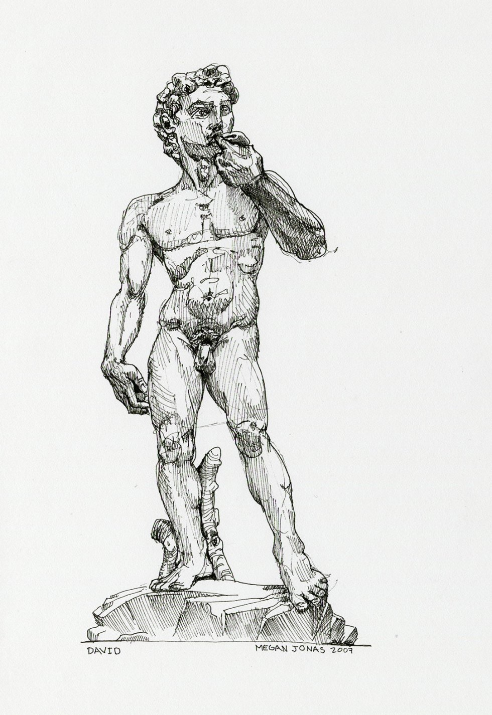 Ink drawing of David at the Academy of Fine Arts of Florence.