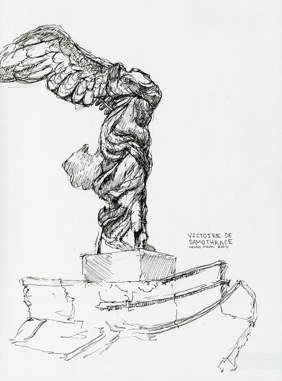 Ink drawing of Winged Victory at the Louvre.