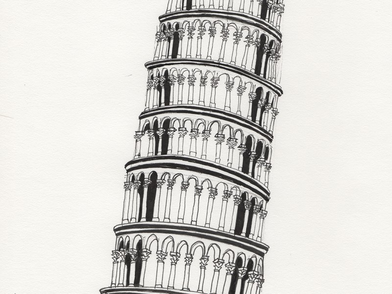 Ink drawing of the Leaning Tower of Pisa.