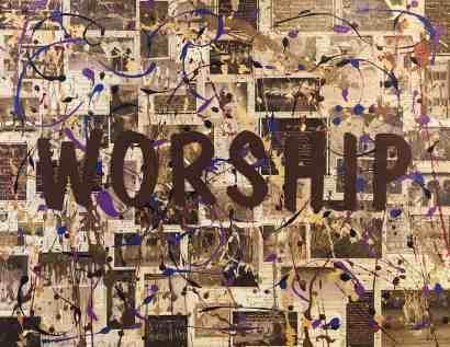 Mixed Media Art on Canvas, Divine Turnaround Word for Worship, Megan Joy Chapman