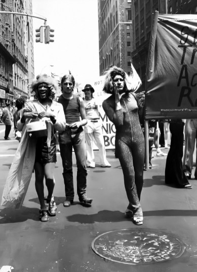 Marsha P. Johnson (left) and Sylvia Rivera (right) at the Christopher Street Liberation Day Gay Pride Parade photographed by Leonard Fink on June 24th 1973.