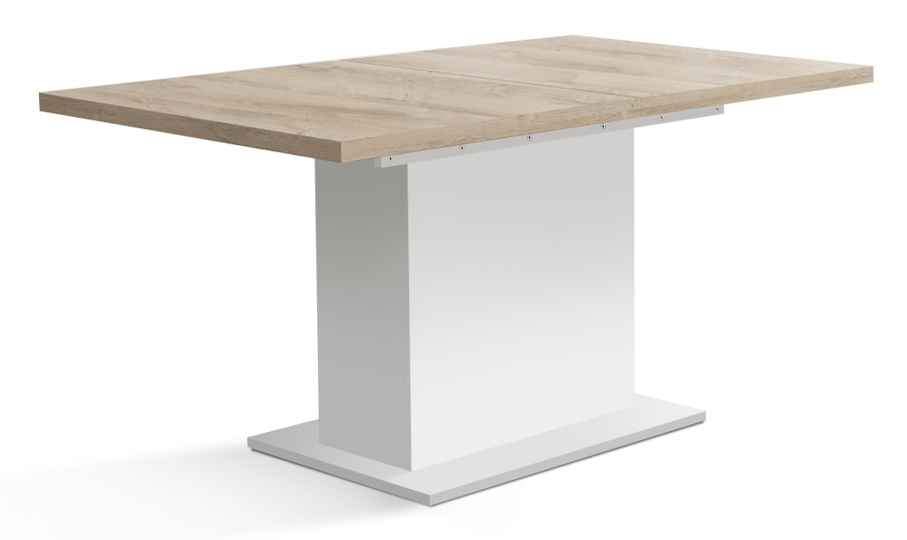 table a diner extensible 160 x 90 cm elara blanc mat chene bianco