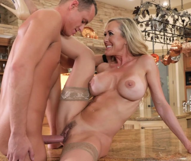 Cougar Brandi Love Is Slammed Up By A Young Cock Against Kitchen Counter