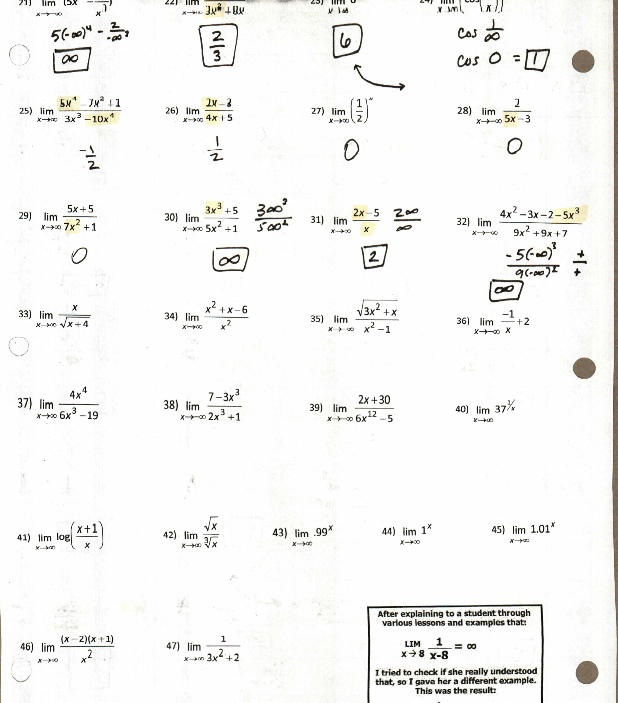 Infinite Limits Worksheet With Answers