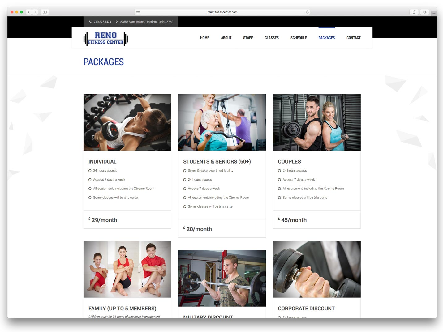Reno Fitness Center Website