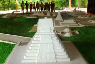 Model of Tikal at the park entrance