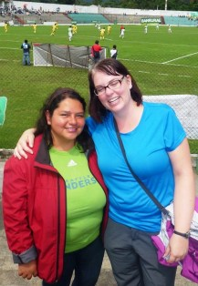 Aura Nineth, my first Spanish teacher -- this is also my first professional futbal/soccer game and the home team won!