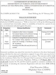 Meghalaya Forest Department Requirments