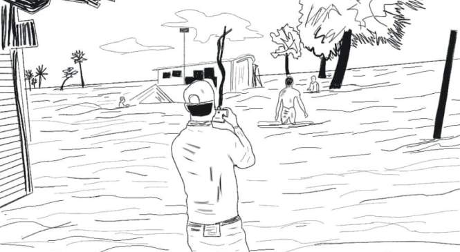তাসনীমের অঙ্কনে জলোচ্ছ্বাসে ভাসা তরুণ সংবাদকর্মী জুনাইদের সংবাদ সংগ্রহের দৃশ্য