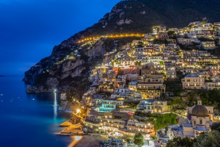 night shot of positano