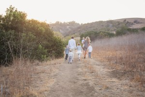 Wallace Family; One Glass Slipper; Fall photo shoot; canyon; five kids; taking a walk; laughing together; getting shoes dirty