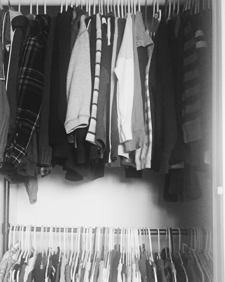 boys closet-long sleeve shirts on top, short sleeve shirts on bottom
