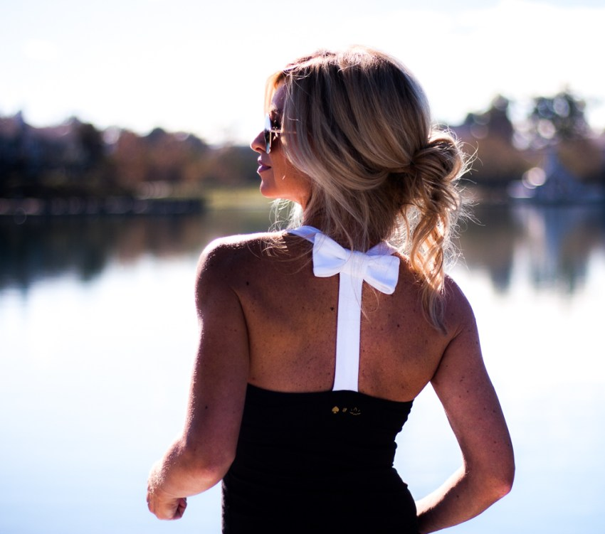 meg marie wallace fitness black and white bow top