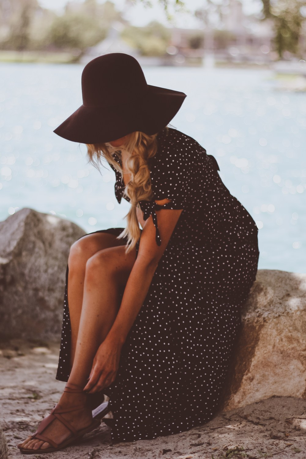 black and white polka dot maxi; spring; love this; maxi dress