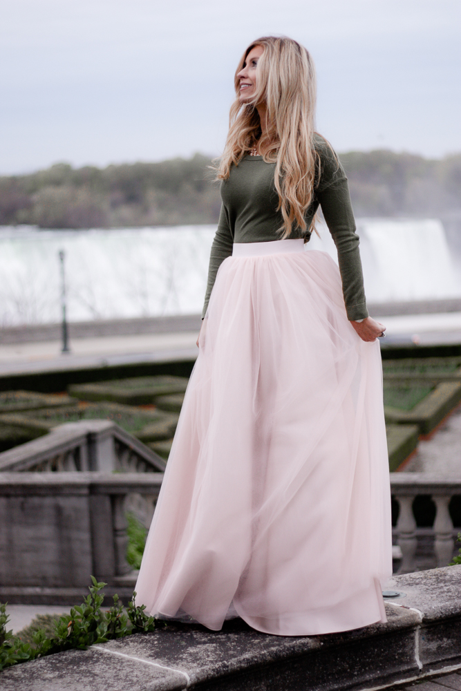 fancy at the falls; pink tulle skirt, tulle maxi