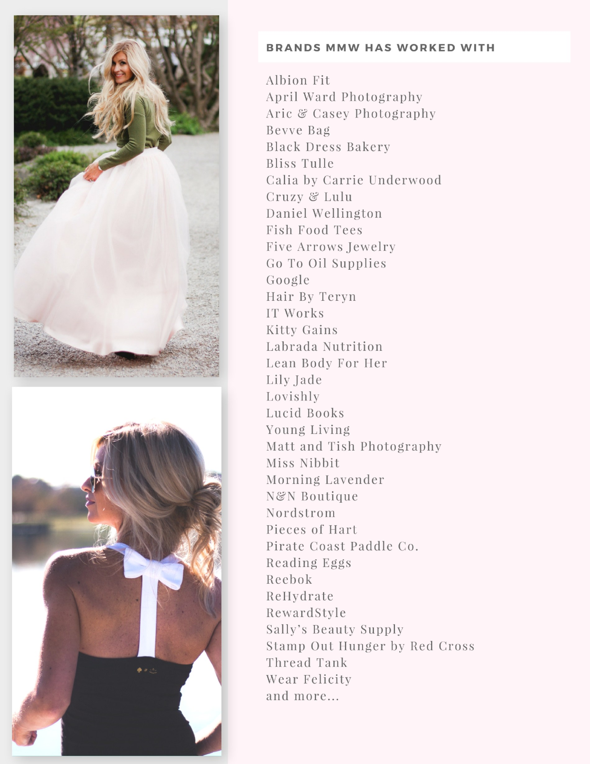 Meg Marie Wallace | Media Kit Brands Page