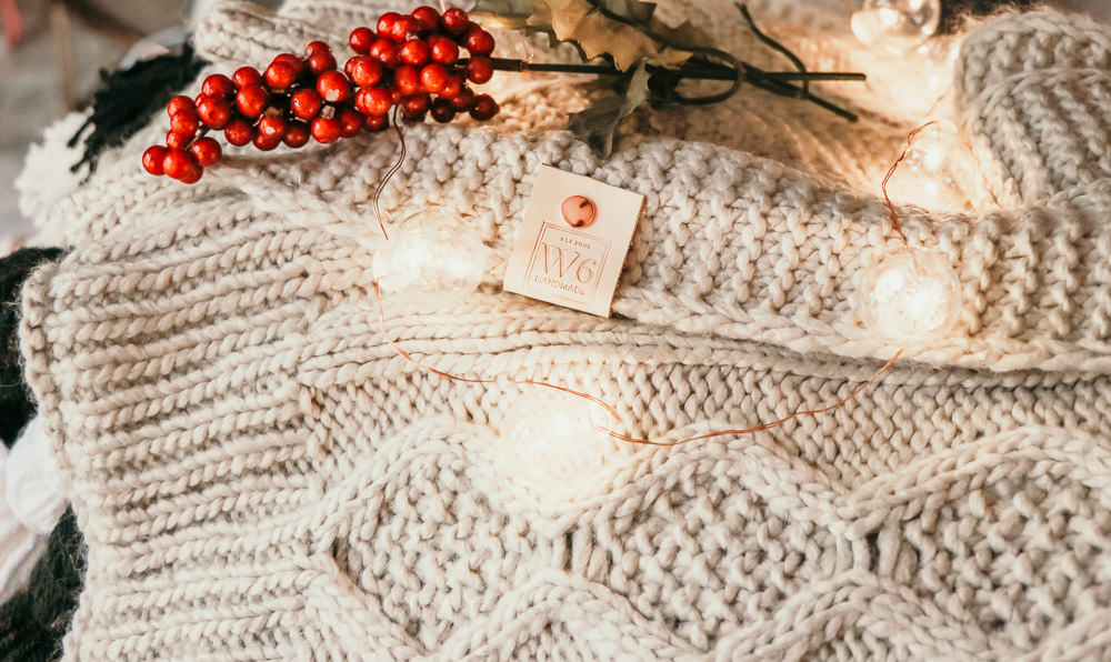 Donner Light Grey Sweater Pom Blanket | meg Marie Wallace | W6 christmas shop