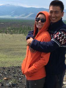 Bogie and Tuul on a volcanic knoll