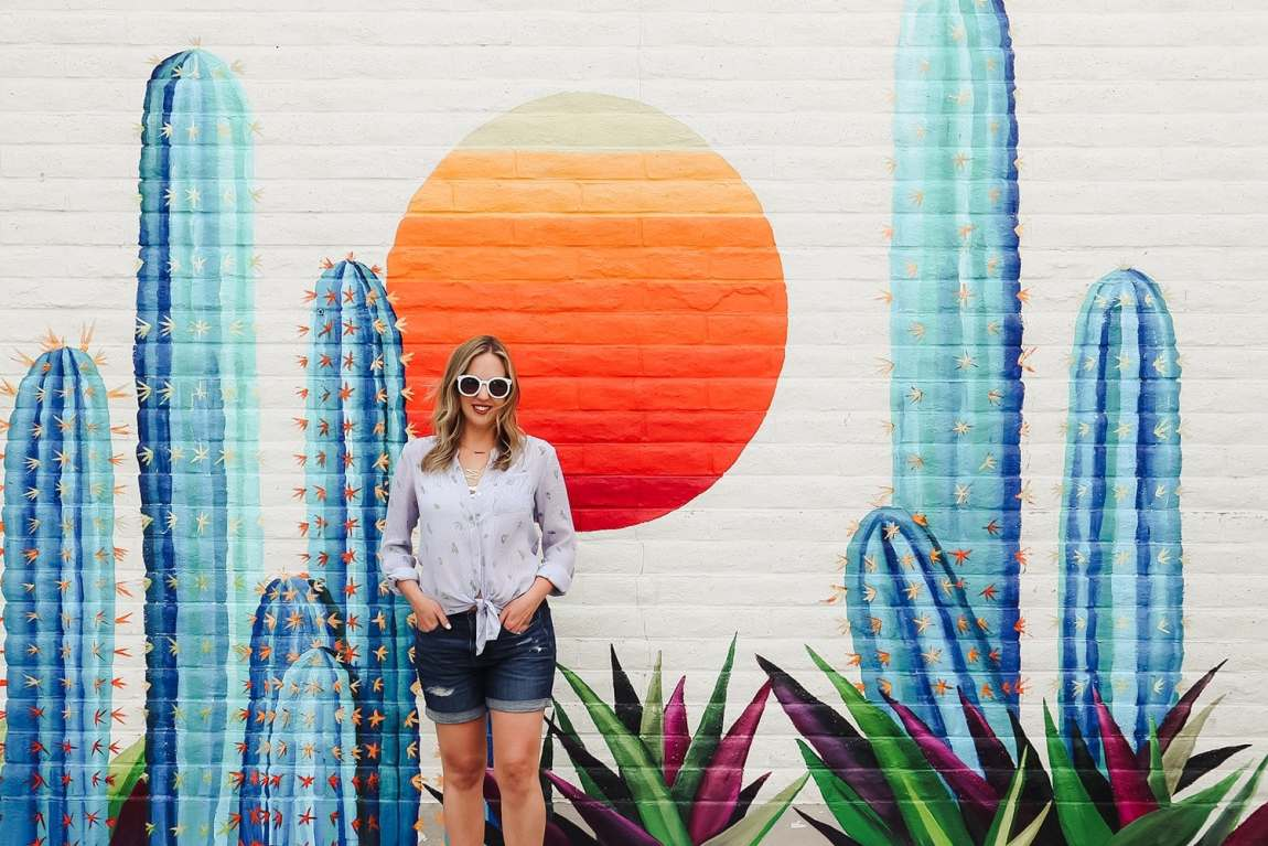 Old Town Scottsdale Cactus mural wall - as seen on Meg O. on the Go's Scottsdale travel guide