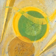 "Appetizer Plate Acrylic on Canvas, 2001, 12"" x 12"" Reoccurring abstract shapes that symbolize waves of time along with circles or spheres that seem to spin like clockworks appear. The thrust of the painting has an upward movement symbolic of the promise of a new morning. Remember... to enjoy the little things in life!"