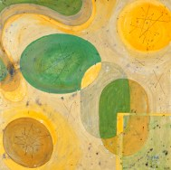 "Vitamin Plate Acrylic on Canvas, 2001, 18"" x 18"" The abstract circular and oblong shapes you see in the paintings are actually formed from traced outlines of real vintage 1950s Franciscan dishes. Remember... one creative dose a day will keep you happier and healthier!"
