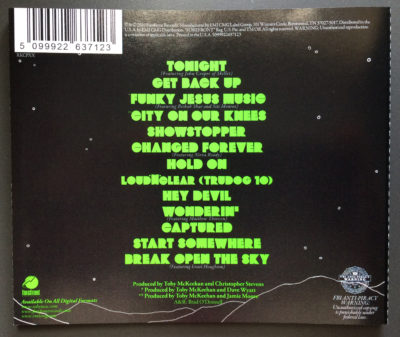 Tonight Album Back Cover by TobyMac | Read full album review over at MegsMinutes.com