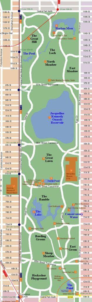 Mapa del parque urbano de Nueva York, Central Park