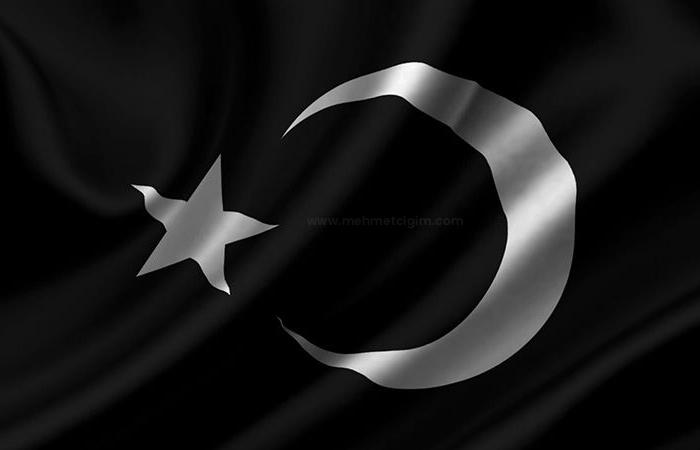 Türk Savaş Bayrağı Siyah Ters