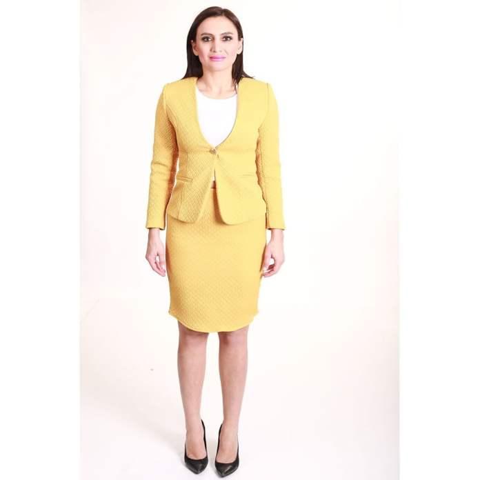 Kadın Takım Elbise Sarı