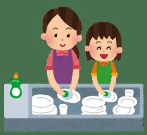 食器を洗う母娘